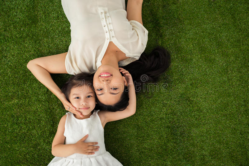 Happy family of two royalty free stock photos