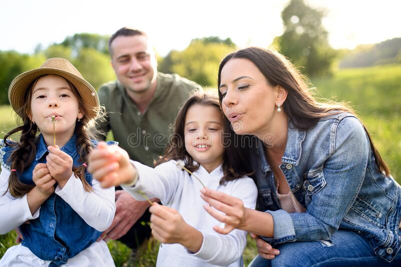 Happy family with two small daughters sitting outdoors in spring nature, blowing dandelion seeds. royalty free stock photos