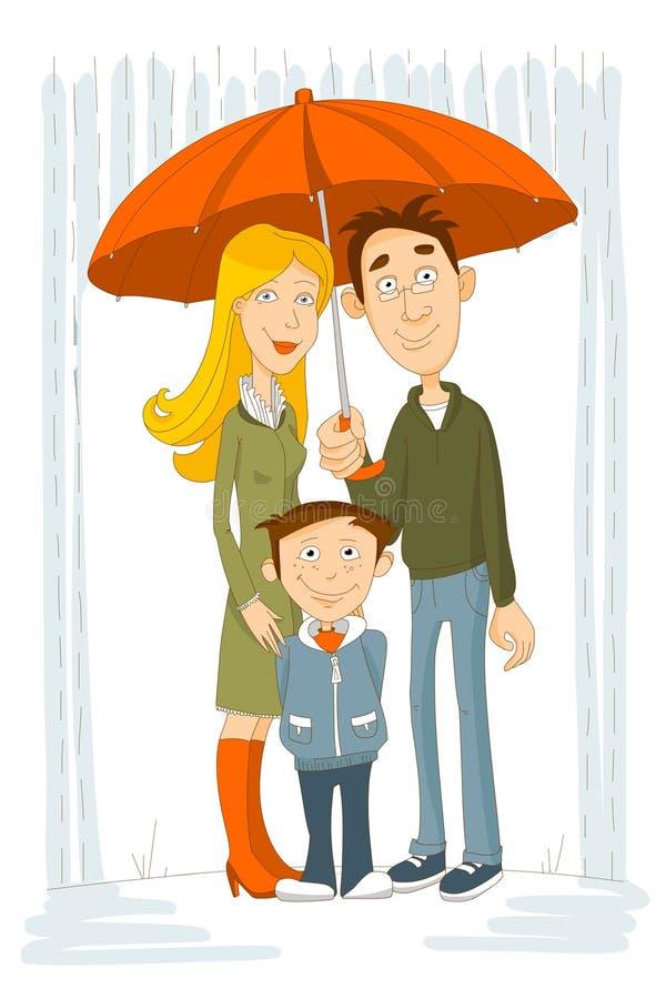 Happy family with umbrella under rain stock illustration