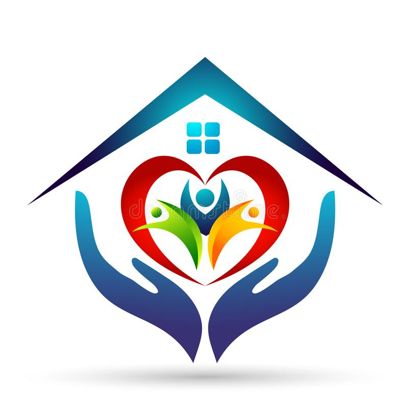 Happy Family union, love heart shaped hands care kids and care happy with home house roof shape logo. royalty free illustration