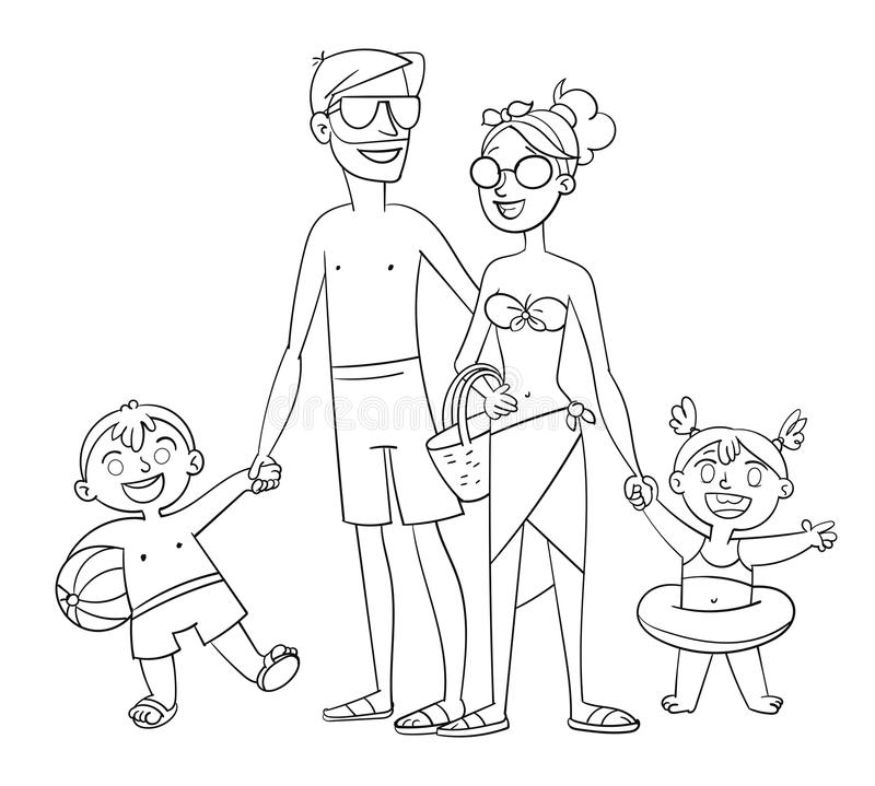 Happy family on vacation. Coloring book vector illustration