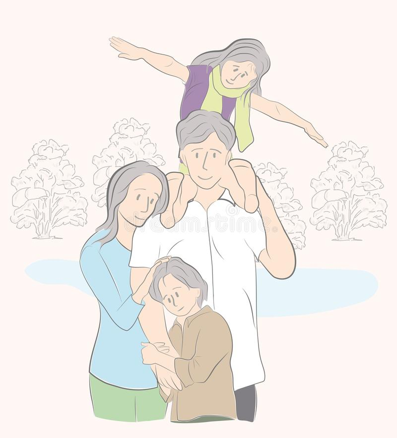 Happy family on vacation. family day. parents with children. vector illustration. vector illustration