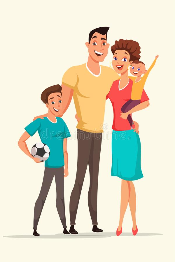 Happy family vector cartoon color illustration. Happy family vector illustration. Woman holding baby flat drawing. Teenager with football ball design element royalty free illustration