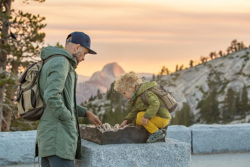 Happy family visit Yosemite national park in California royalty free stock images