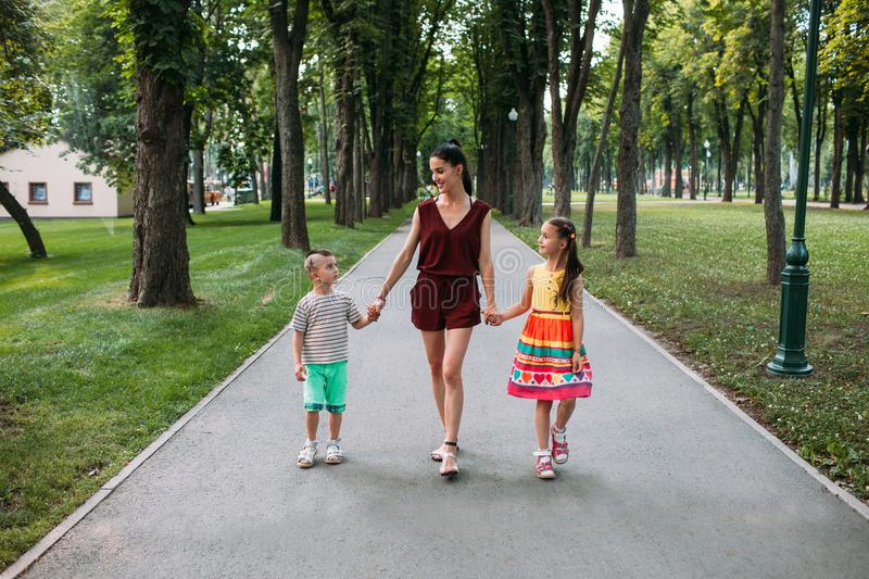 Happy family walk park nature concept royalty free stock photo