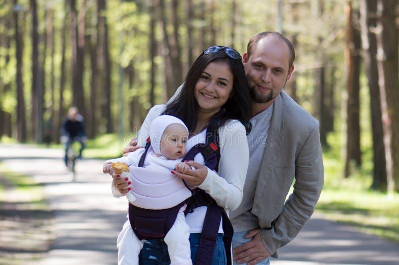 Happy family in walk royalty free stock image