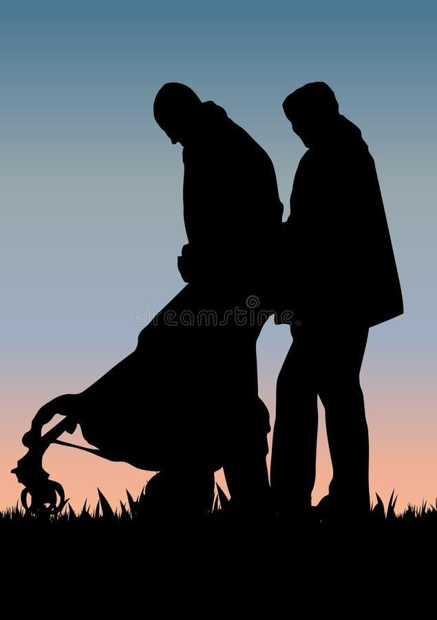 Happy family walking stock image