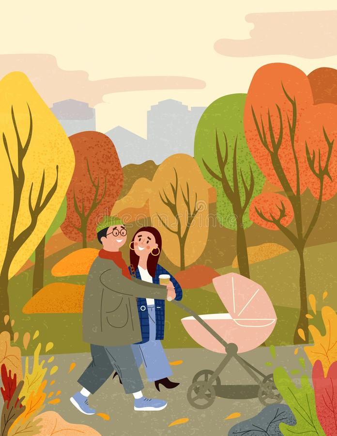 Happy family walking in autumn city park with baby royalty free illustration