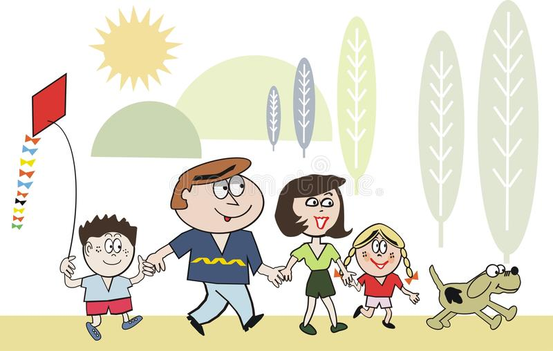 Download Happy Family Walking Cartoon Stock Vector - Illustration: 15479259