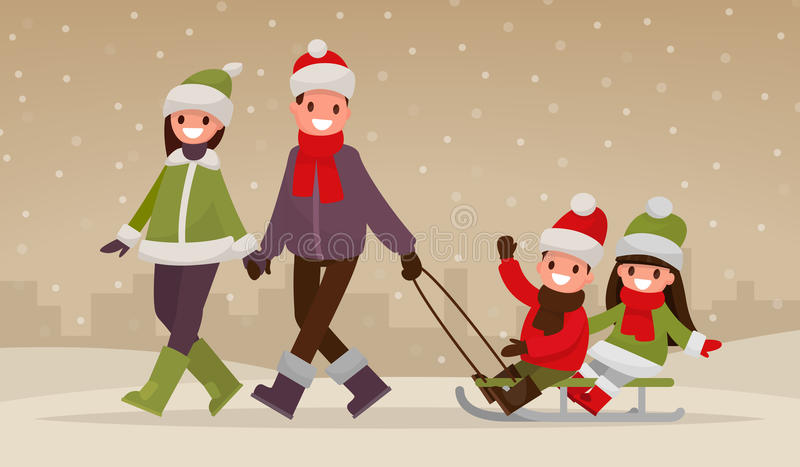 Happy family walking outdoors in winter. Parents are carry chil. Dren on a sled. Vector illustration of a flat design royalty free illustration