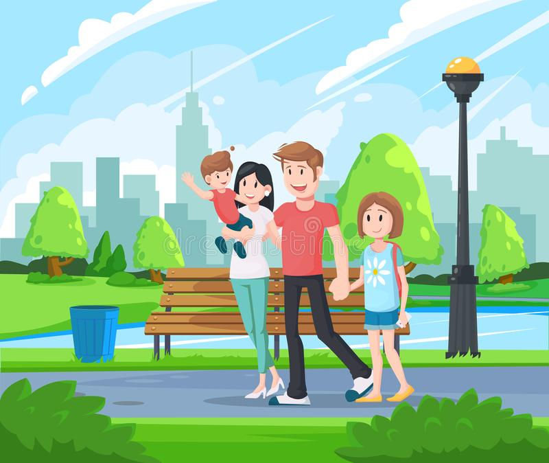 Happy family walking in the park. Happy father day, family holiday, daughter and son hold dad hand. Rest at nature. stock illustration