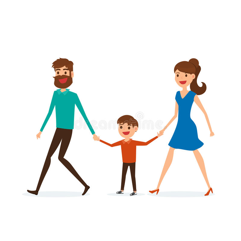 Happy family walking together and hold in hand. Father mother and son. Flat design style. vector illustration