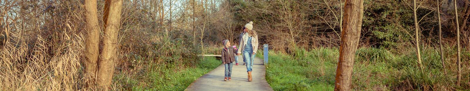 Happy family walking together holding hands in the forest stock photography