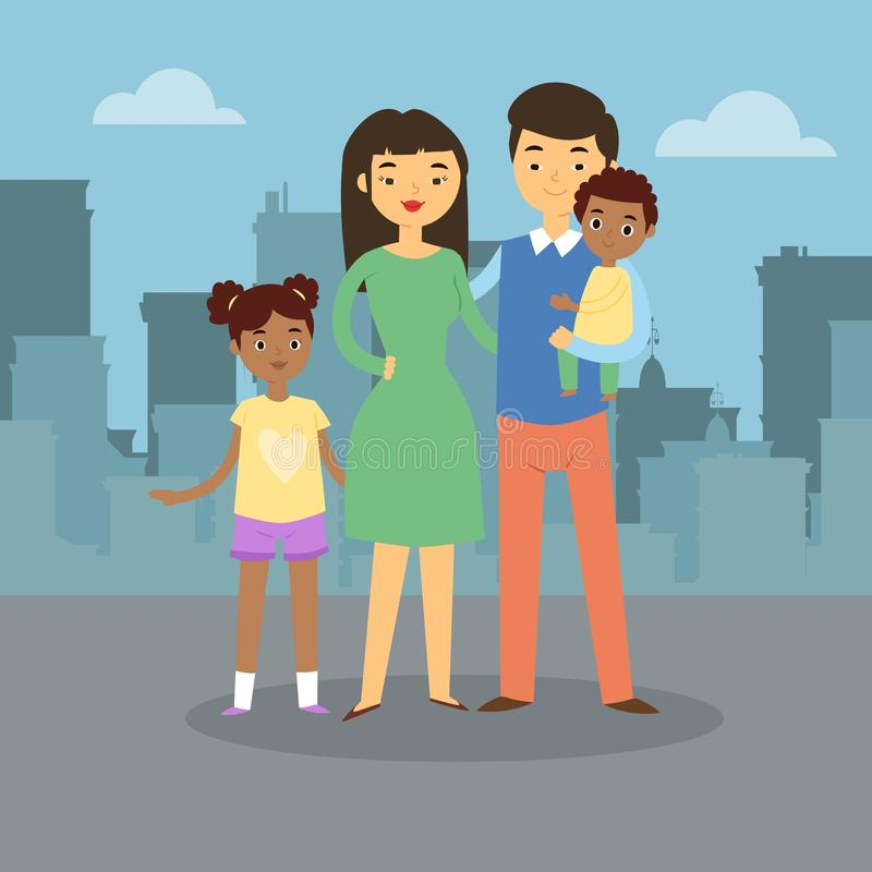 Happy family walks around the city banner. Father, mother, son and daughter together outdoors on town background vector. Family walks around the city banner stock illustration
