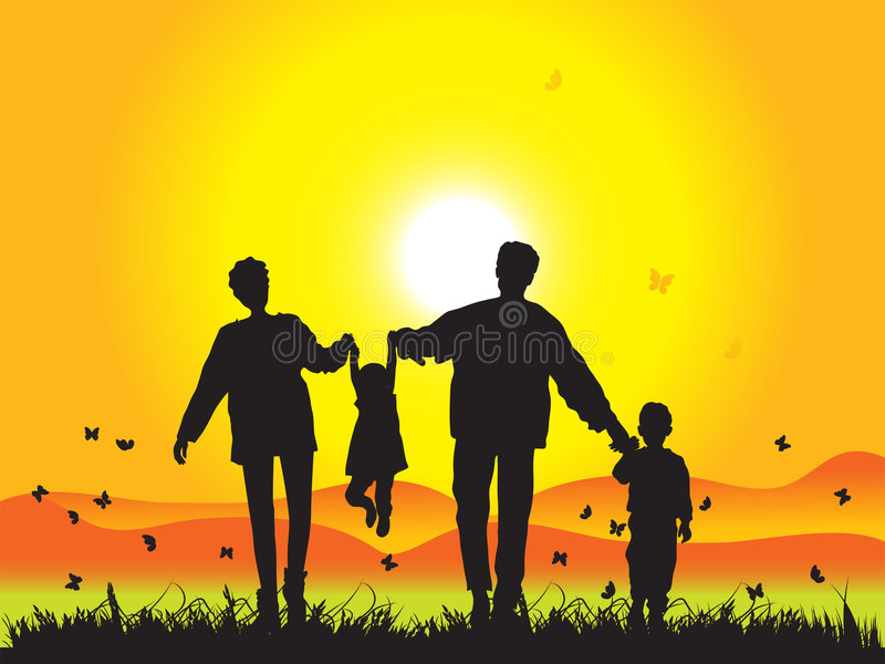 Download Happy Family Walks On Nature Stock Vector - Image: 4289569