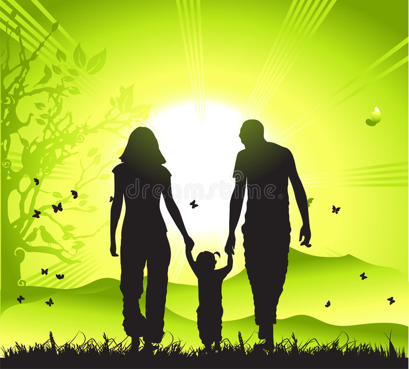 Download Happy Family Walks On Nature, Stock Vector - Image: 4959930