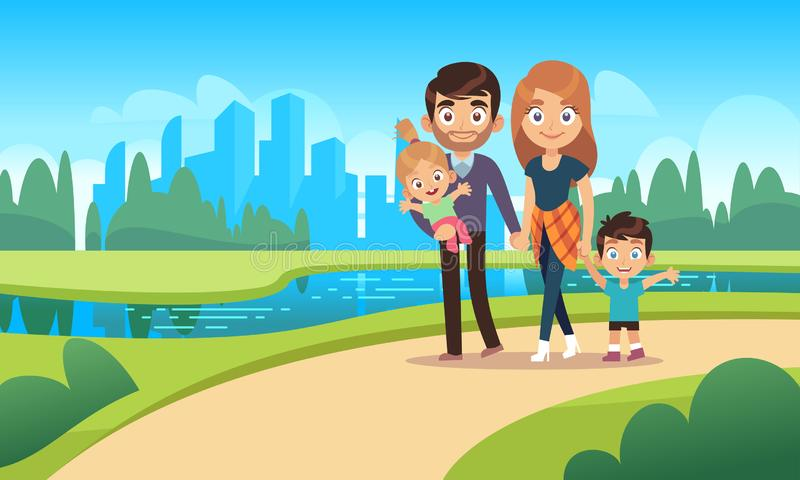 Happy family walks. Walk park city nature happiness families character mother father daughter son kids pet cartoon royalty free illustration