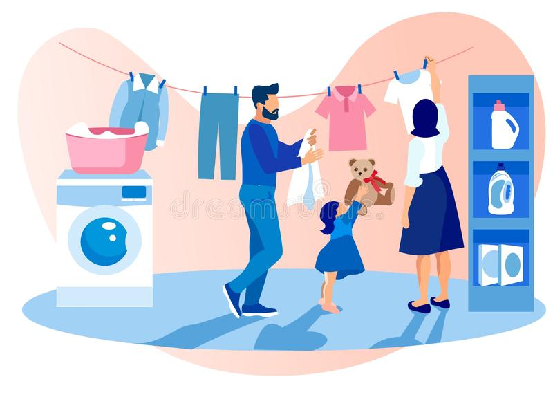 Happy Family Washing and Drying Clothes, Chores. Happy Family of Mother, Father and Little Daughter Washing and Drying Clothes Together. Characters Weekend royalty free illustration