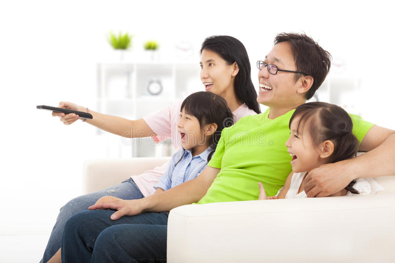 Happy Family watching tv royalty free stock photography