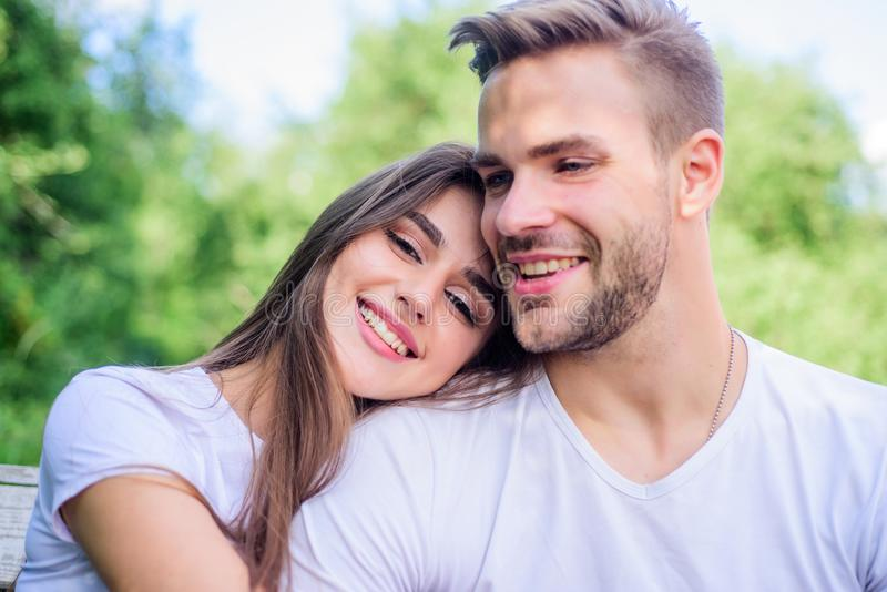 So happy. family weekend. romantic date. couple relax outdoor. Tender feeling. girl with guy in park. Beauty and fashion. Couple in love. Skin and hair care stock image