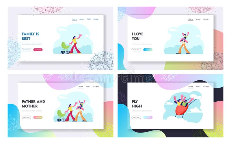 Happy Family Weekend and Spare Time Website Landing Page Set. Young Couple Riding Fast on Rollercoaster Rides vector illustration