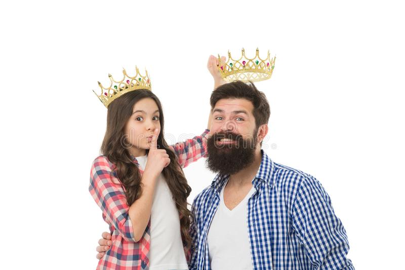 Happy family white background. Bearded man proud of his daughter. Play game with daughter. Fatherhood concept. Fun with. Happy family white background. Bearded stock image