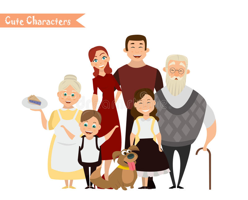 Happy family in the white background. stock illustration