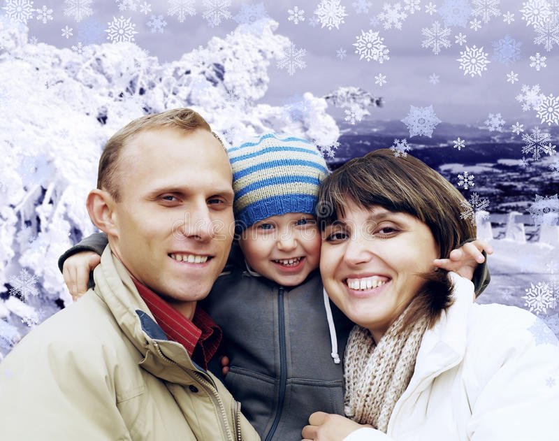 Happy family in winter royalty free stock photo