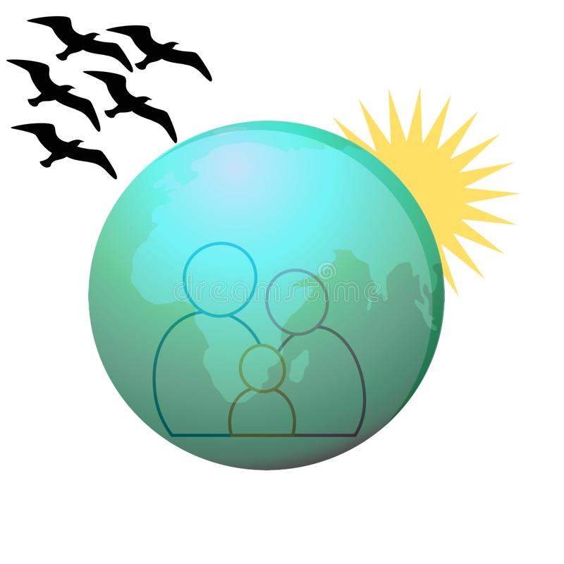 Happy family in the world with sunrise stock photography