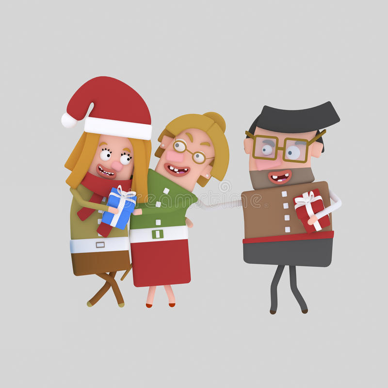 Happy family with xmas gift. 3D royalty free illustration