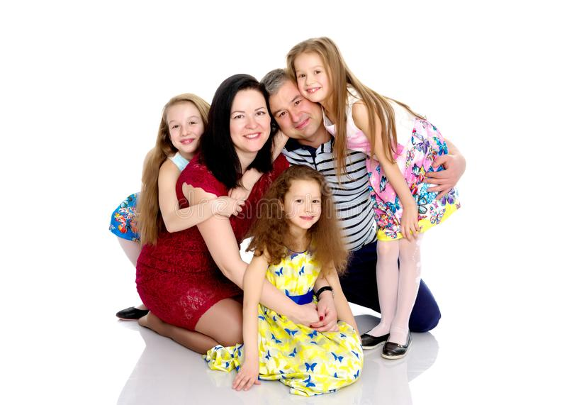 Happy family with young children royalty free stock photo