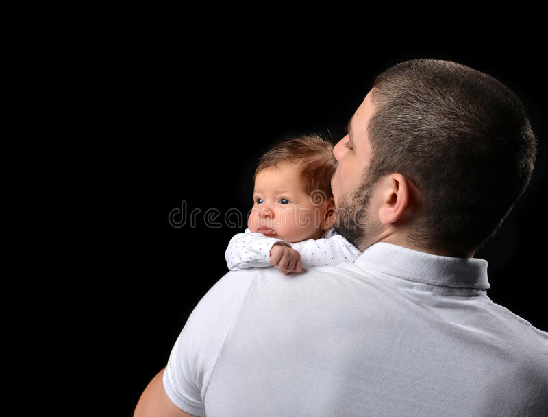 Download happy family young father and new born infant child baby girl ki stock image