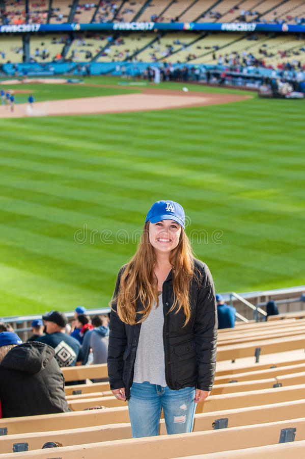 Happy fan ready to watch some baseball royalty free stock image