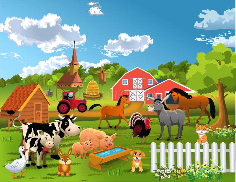 Happy farm animals. Vector illustration of happy farm animals living peacefully together with a barn in the background vector illustration