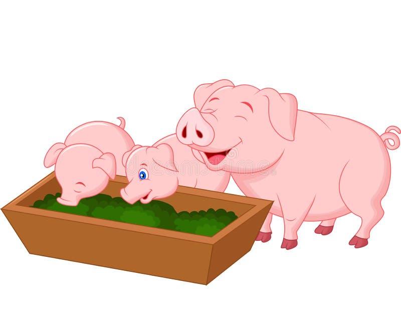 Happy farm pig family stock illustration