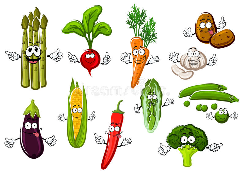 Happy farm vegetables cartoon characters. Happy smiling cartoon fresh corn cob and eggplant, sweet orange carrot and green pea, potato and hot red chili pepper stock illustration