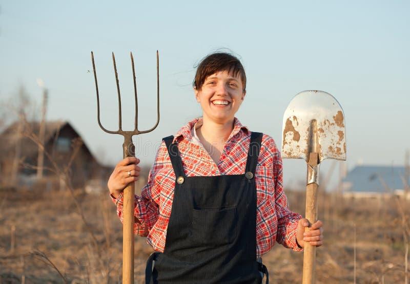 Happy farmer stock image