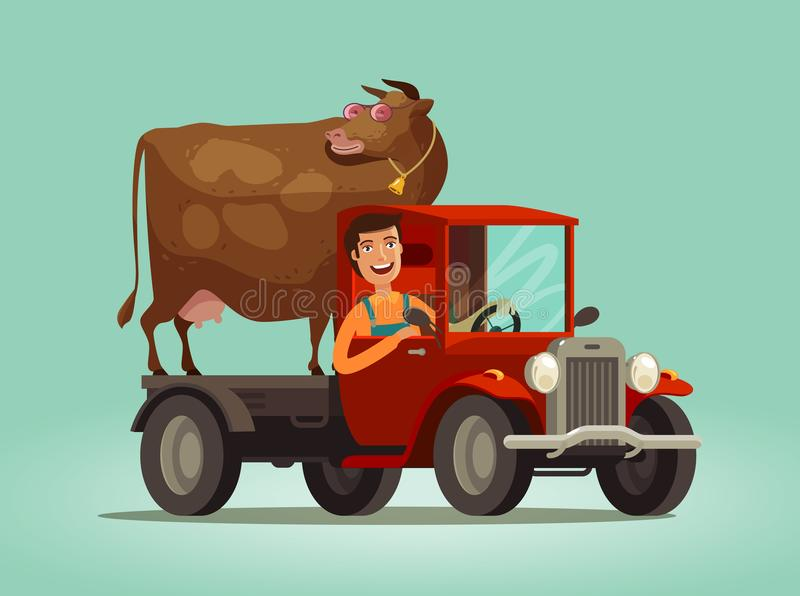 Happy farmer and cow rides on truck. Farming, farm, agriculture concept. vector illustration