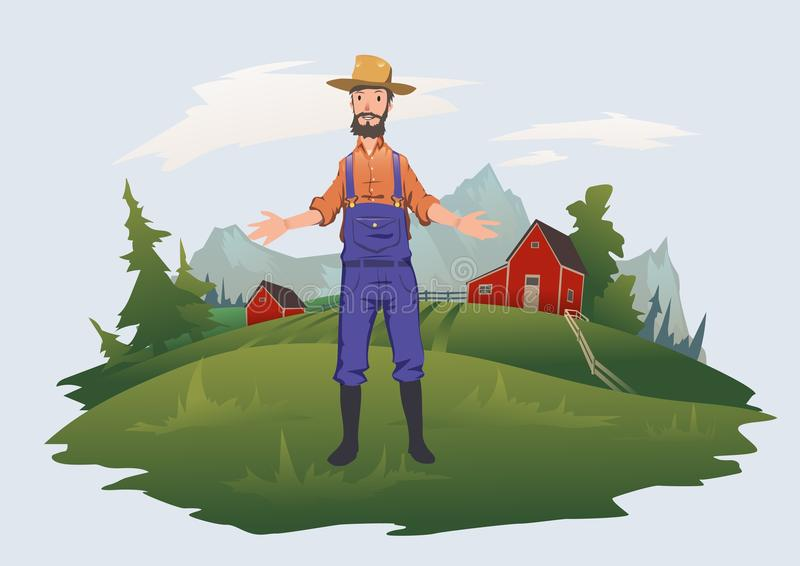 Happy farmer on the farm. Man welcomes visitors to the farm. Agriculture, farming. Vector illustration, isolated on vector illustration
