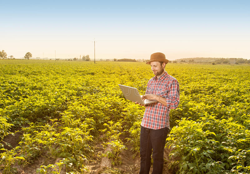 Happy farmer with laptop computer in front of field stock photos