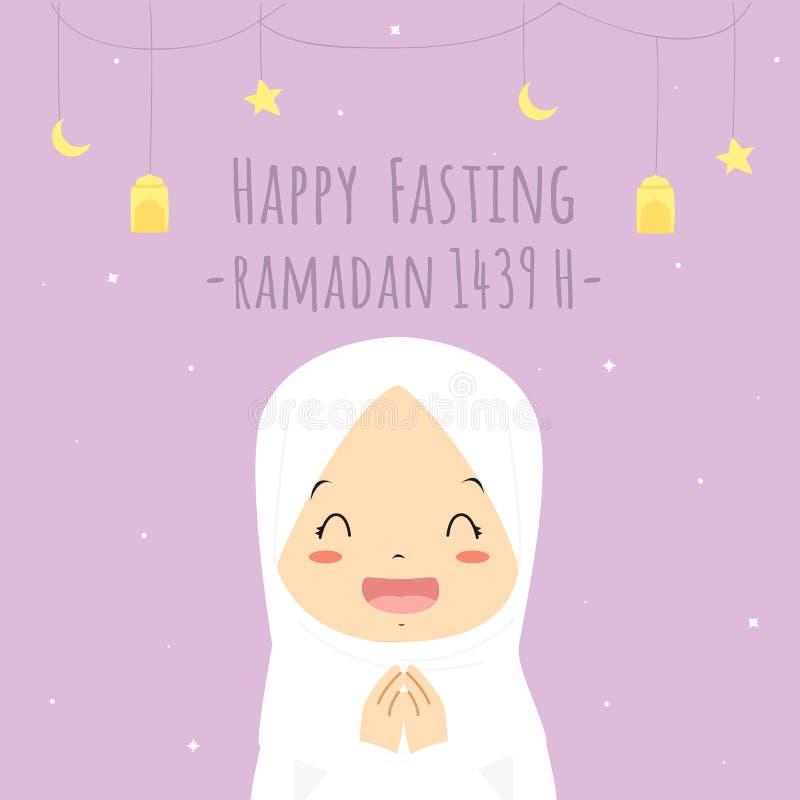 Happy Fasting Greeting Card, Muslim Girl Cartoon Vector stock illustration