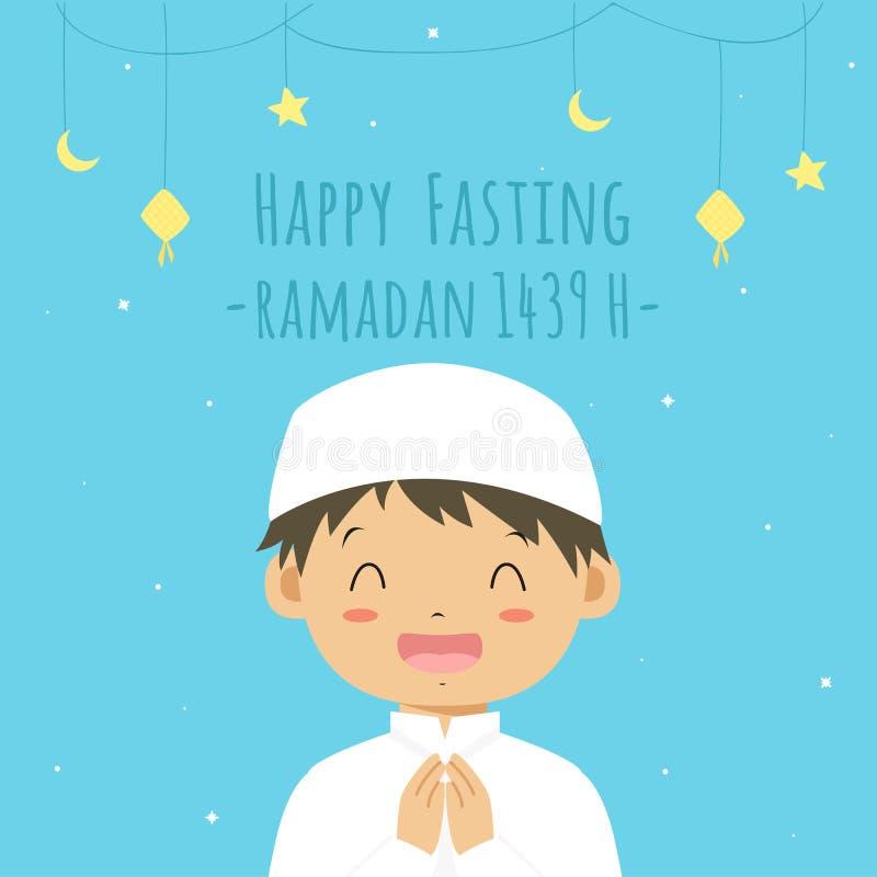 Happy Fasting Greeting Card, Muslim Boy Cartoon Vector stock illustration