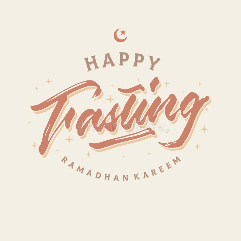 Free Happy Fasting Ramadhan Kareem Roughen Brush Lettering Typography Greeting Card Poster Stock Photography - 115387582
