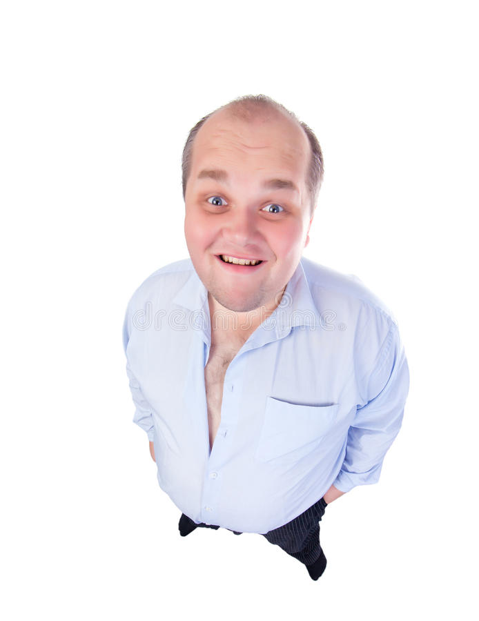 Download Happy Fat Man In A Blue Shirt, Wide-angle Top View Royalty Free Stock Images - Image: 27086649