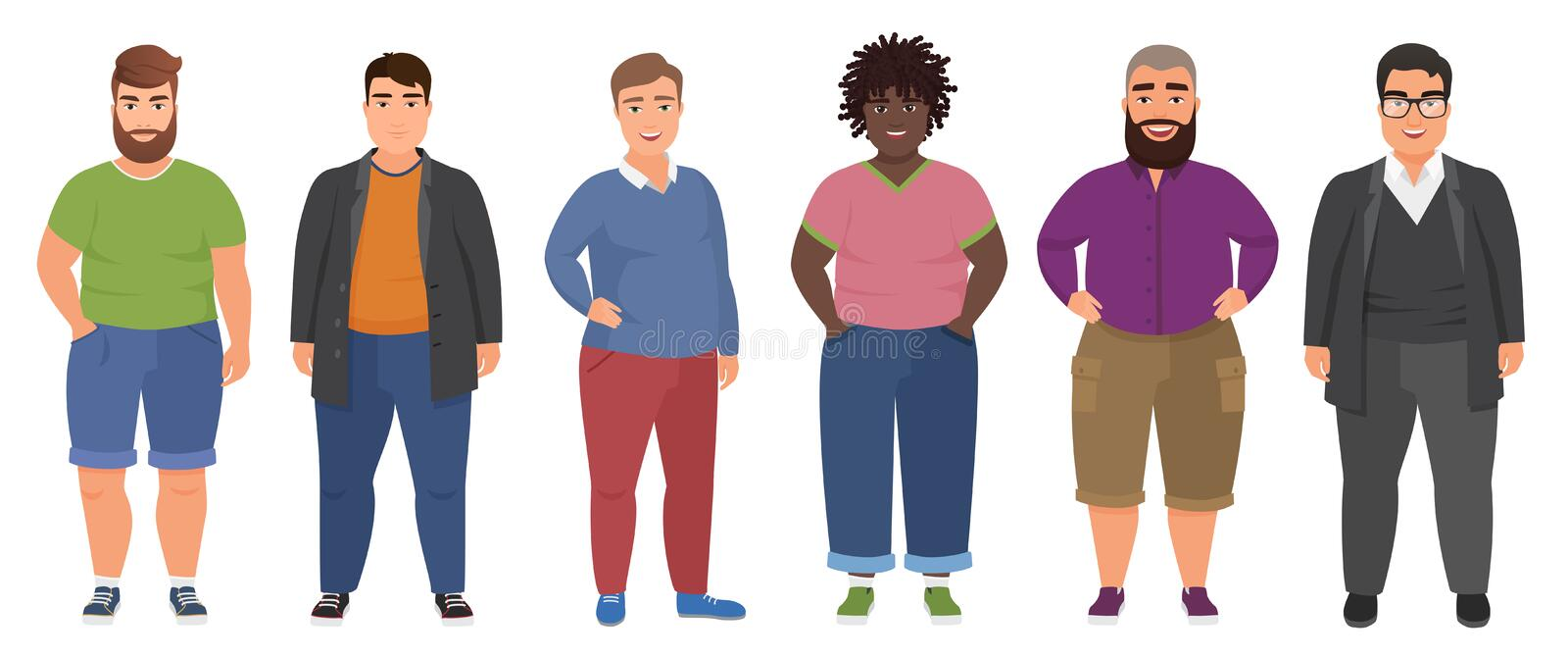 Happy fat man set in casual clothes. Funny cartoon bigg guys characters collection. royalty free illustration