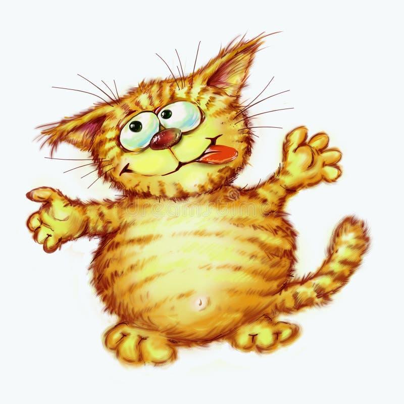 Happy fat red cat Digital illustration stock photos