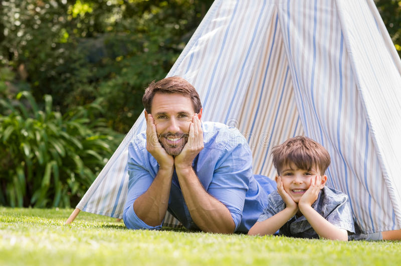 Happy father and child stock image