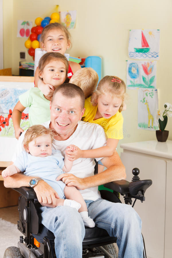 Happy father with children stock photography