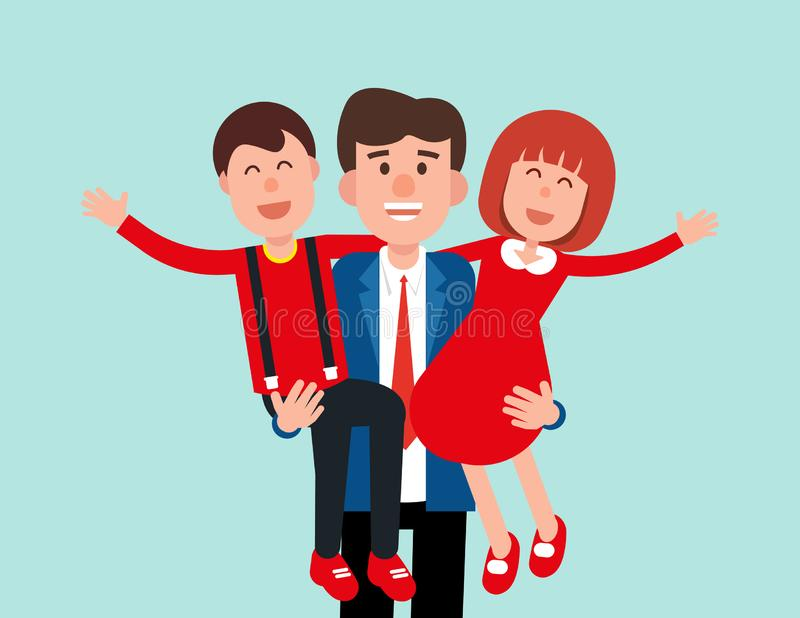 Happy Father. Daddy holding his son and daughter. Concept family vector illustration vector illustration