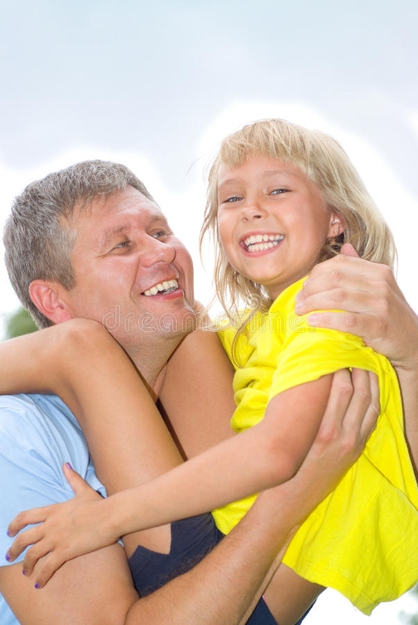 Happy father and daughter stock image